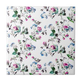 Diseño floral rosado de los rosas y de las flores azulejo cuadrado pequeño