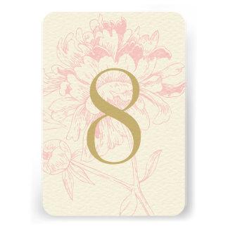 Diseño floral rosado del Peony del número el de Comunicados Personalizados