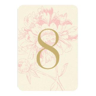 Diseño floral rosado del Peony del número el | de Comunicados Personalizados