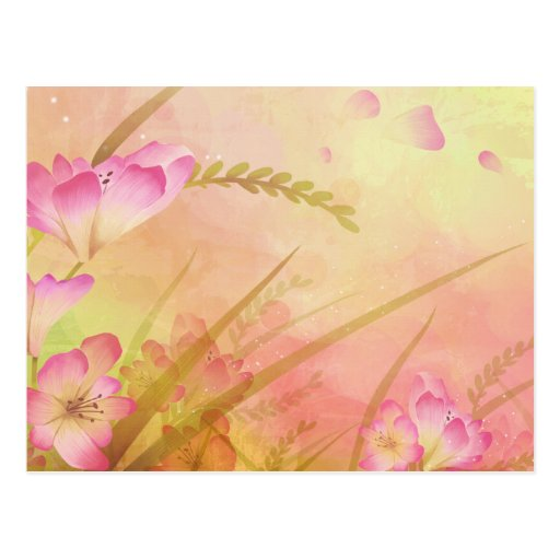 diseño floral rosado postal