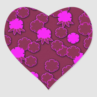 Diseño floral rosado psicodélico del japonés pegatina en forma de corazón