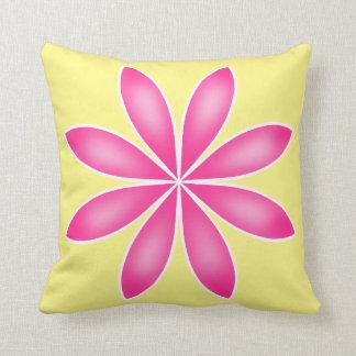 Diseño floral rosado y amarillo para la primavera cojín