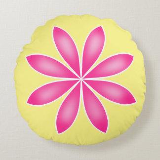 Diseño floral rosado y amarillo para la primavera cojín redondo