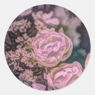 Diseño floral rosado y azul hermoso etiquetas