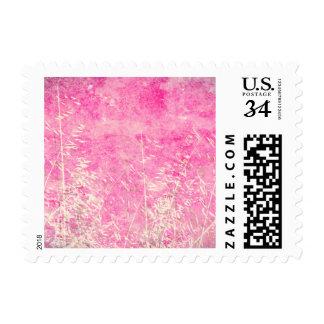 Diseño floral rosado y blanco sucio precioso timbre postal