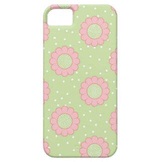 Diseño floral rosado y lunares iPhone 5 carcasas