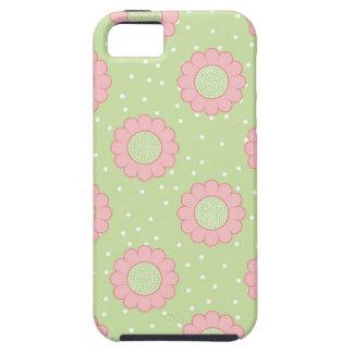 Diseño floral rosado y lunares iPhone 5 funda