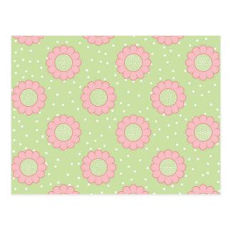 Diseño floral rosado y lunares tarjeta postal