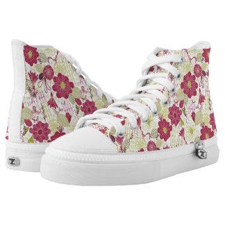 Diseño floral rosado y verde retro - altos zapatos zapatillas