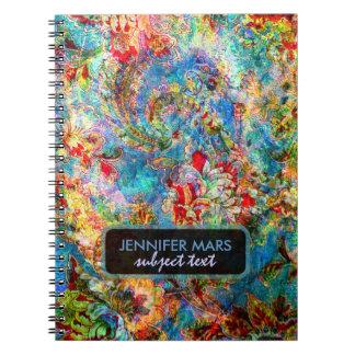 Diseño floral rústico abstracto colorido spiral notebook