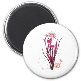 diseño floral salvaje del estilo del vintage imán redondo 5 cm