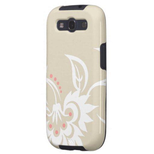 diseño floral suave Beige-blanco del tatuaje Samsung Galaxy S3 Protectores
