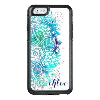 Diseño floral tranquilo de la mandala del azul y funda otterbox para iPhone 6/6s