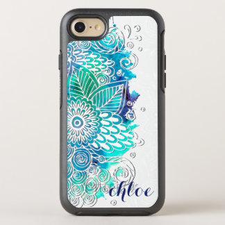 Diseño floral tranquilo de la mandala del azul y funda OtterBox symmetry para iPhone 7