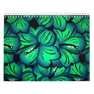 Diseño floral tropical verde del hibisco calendarios de pared