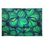 Diseño floral tropical verde del hibisco manteles individuales