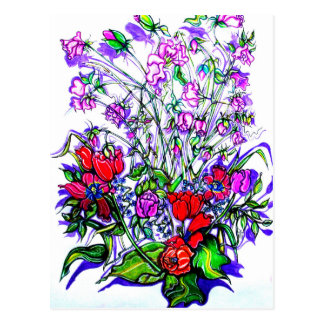 Diseño floral único postales