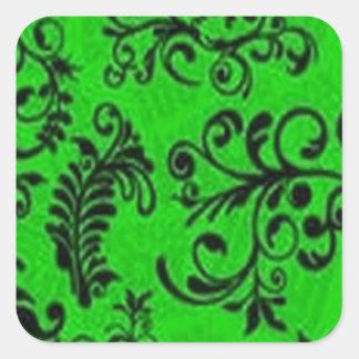 Diseño floral verde excepcional pegatina cuadradas personalizadas
