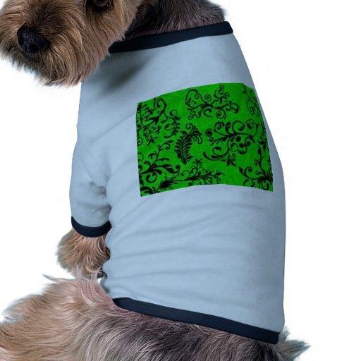 Diseño floral verde excepcional camiseta con mangas para perro