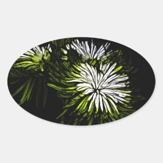 Diseño floral verde y blanco abstracto