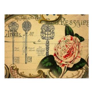 diseño floral y de la mariposa antiguo hermoso tarjetas postales