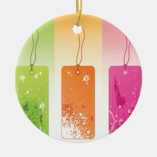 Diseño florecido de las etiquetas ornamento de navidad