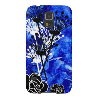 Diseño florecido pluma azul brillante carcasa galaxy s5