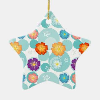 Diseño florido inconsútil adorno de cerámica en forma de estrella