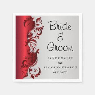 Diseño florido rojo y de plata elegante del boda servilletas desechables