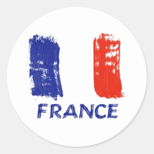 Diseño francés de la bandera pegatina redonda