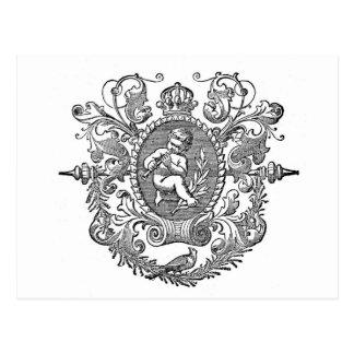 Diseño francés de la querube de la tipografía del postales