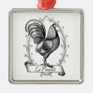 Diseño francés de Poulet del saco del grano del Adorno Navideño Cuadrado De Metal