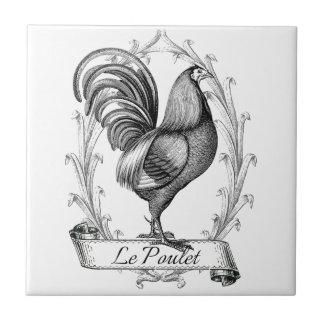 Diseño francés de Poulet del saco del grano del vi Azulejo Cuadrado Pequeño