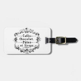 Diseño francés del chocolate de la tipografía del etiquetas maletas