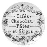 Diseño francés del chocolate de la tipografía del plato de cena