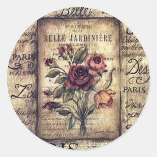 Diseño francés del rosa del vintage pegatina redonda