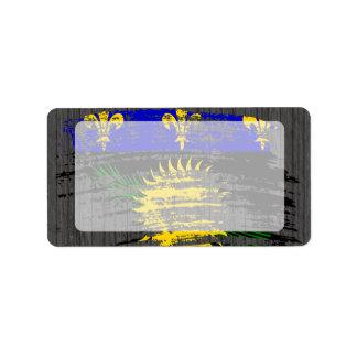 Diseño fresco de la bandera de Guadeloupean Etiquetas De Dirección