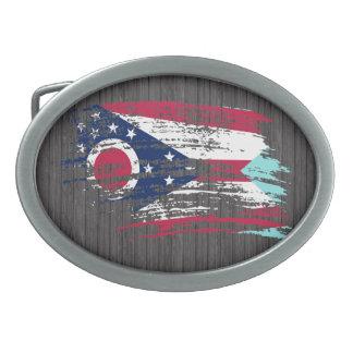 Diseño fresco de la bandera de Ohioan Hebilla Cinturón Oval