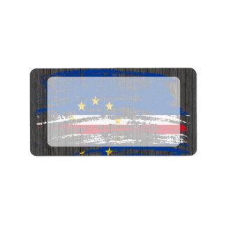 Diseño fresco de la bandera de Verdian del cabo Etiquetas De Dirección