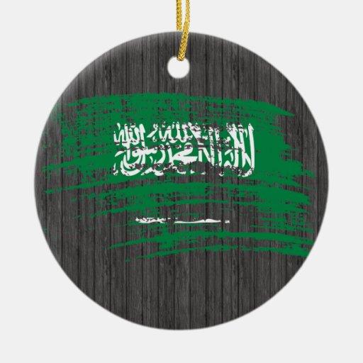 Diseño fresco de la bandera del saudí adorno navideño redondo de cerámica
