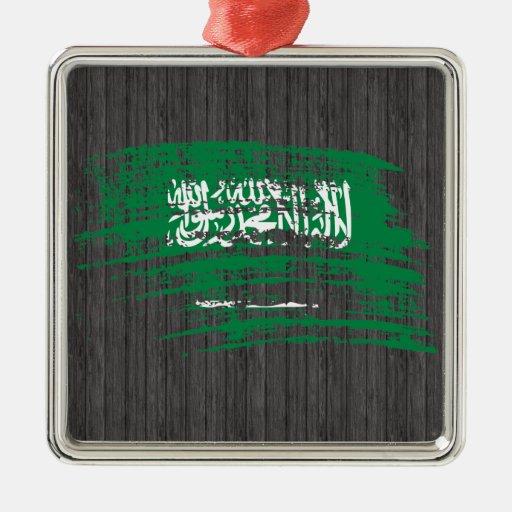 Diseño fresco de la bandera del saudí adorno cuadrado plateado