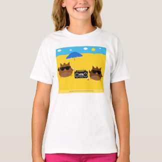 Diseño fresco de los búhos de la playa - camisetas