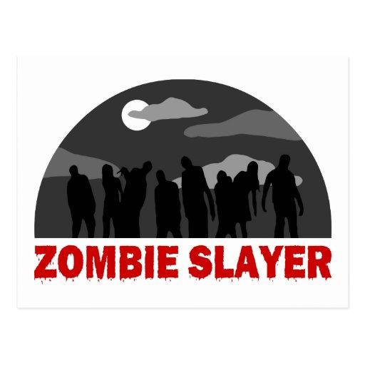 Diseño fresco del asesino del zombi tarjeta postal