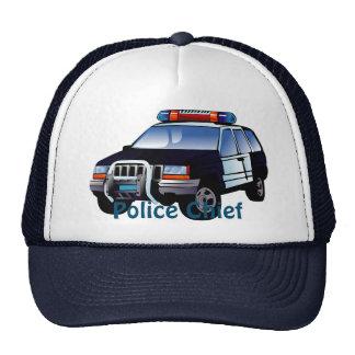 Diseño fresco del dibujo animado del coche policía gorras de camionero