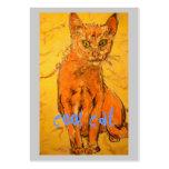 diseño fresco del gato plantilla de tarjeta personal
