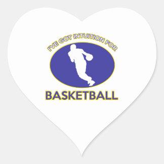 diseño fresco del jugador de básquet pegatina en forma de corazón