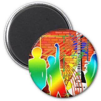 Diseño fresco enrrollado del arte pop de la danza  imán redondo 5 cm