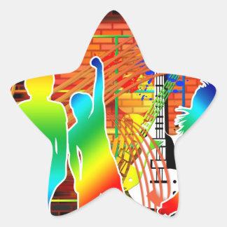 Diseño fresco enrrollado del arte pop de la danza pegatina en forma de estrella