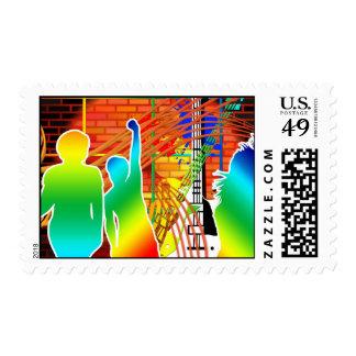 Diseño fresco enrrollado del arte pop de la danza timbres postales
