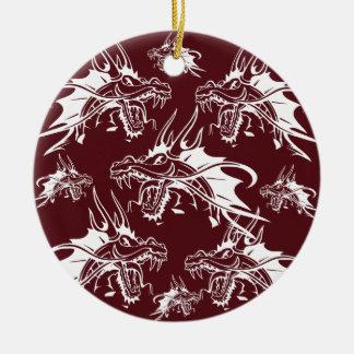 Diseño fresco rojo de la fantasía de la criatura adorno navideño redondo de cerámica